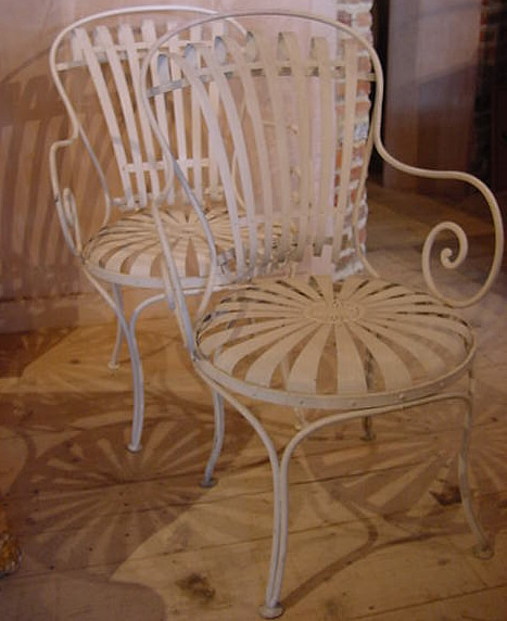 Pair of french metal 39 sprung 39 garden chairs antique sold items French metal garden furniture