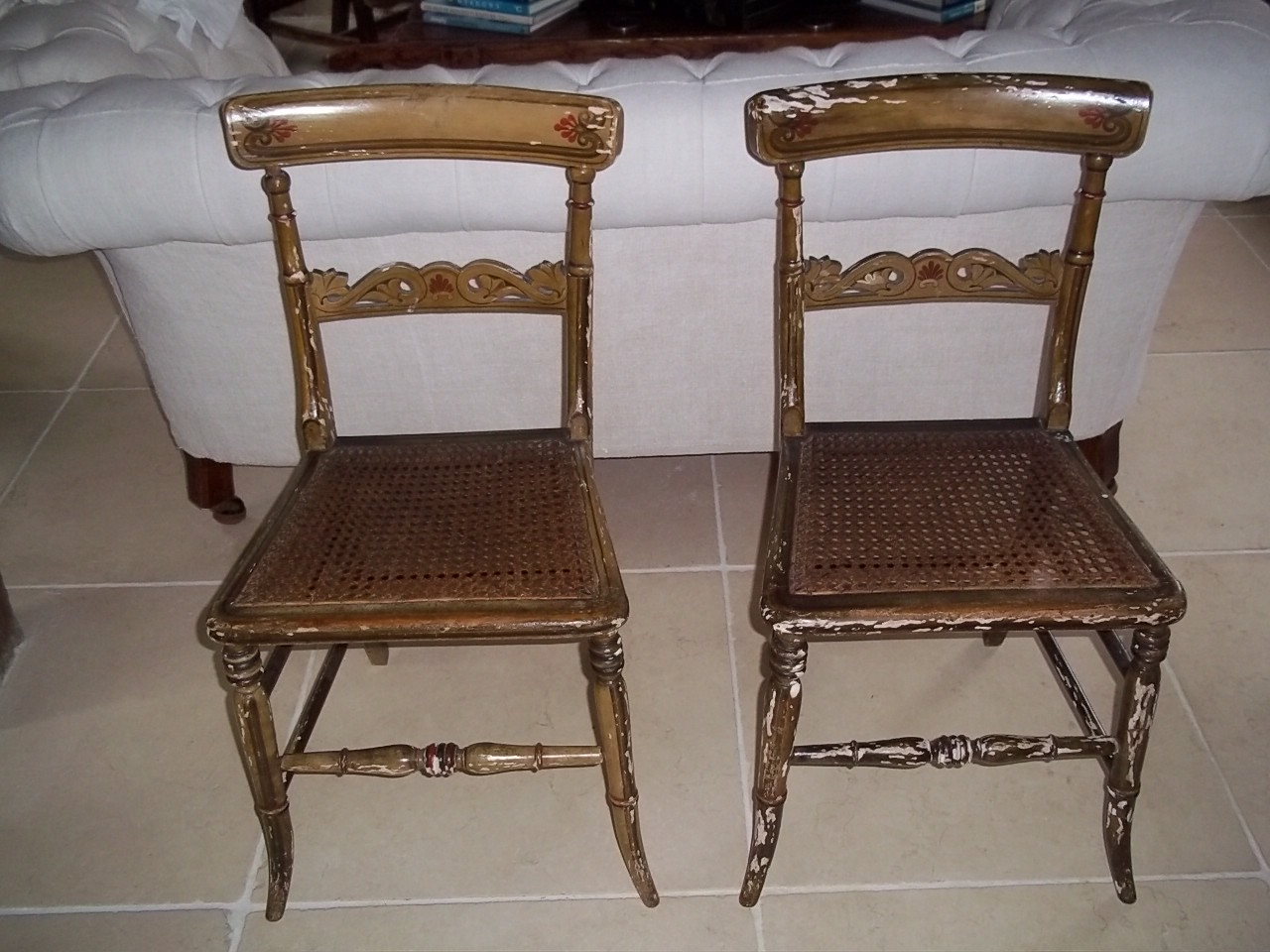 pair of gilt chairs