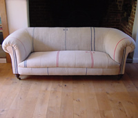 Chesterfield sofa with Grain Sacks