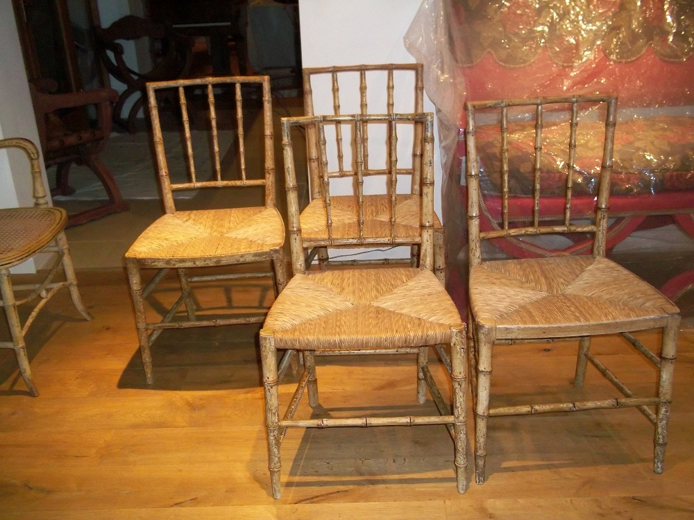 a pair of original painted bamboo chairs - A Pair Of Original Painted Bamboo Chairs - Antique Chairs, Sofas