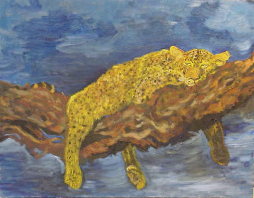 Oil Painting of Leopard - Antique Paintings / Drawings
